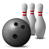 Bowling ball and three pins