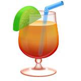 Tropical drink with straw
