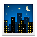 City skyline at night with stars