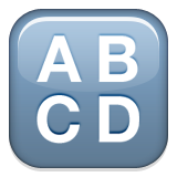 Capital letters A, B, C, and D